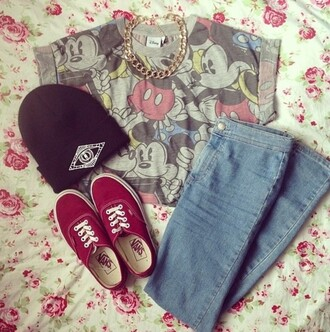 t-shirt hat vans jeans shoes mickey mouse style fashion clothes bag