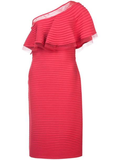 dress one shoulder dress women spandex red