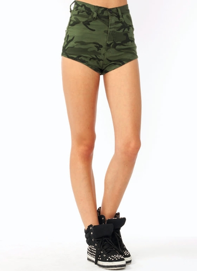 Camo High Waisted Shorts - The Else