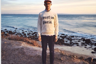 cuisse de grenouille menswear sweater surf surf in paris paris hipster quote on it french summer outfits beach