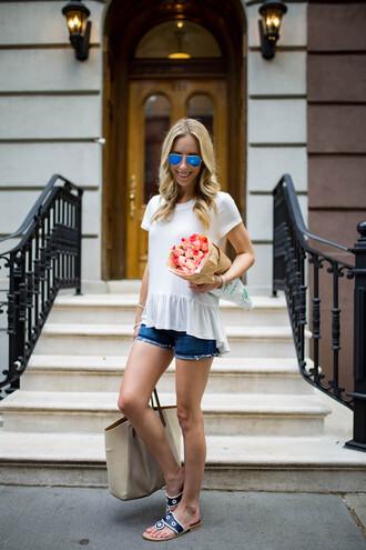 t-shirt peplum tee mini shorts denim shorts sandals ruffle hem tee blogger blogger style
