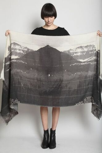 scarf mountain print silk screen print silk scarf printed scarf