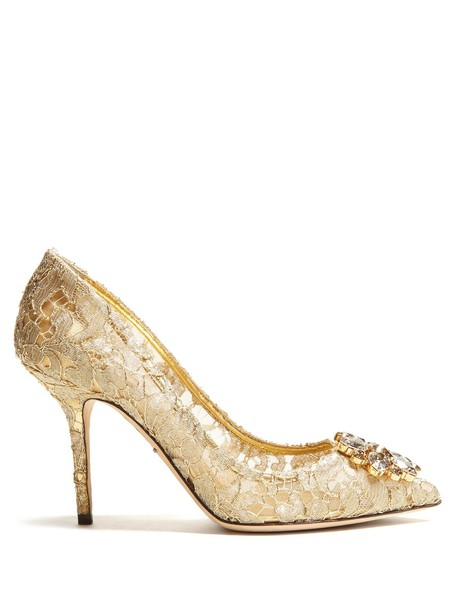 Dolce & Gabbana embellished pumps lace gold shoes