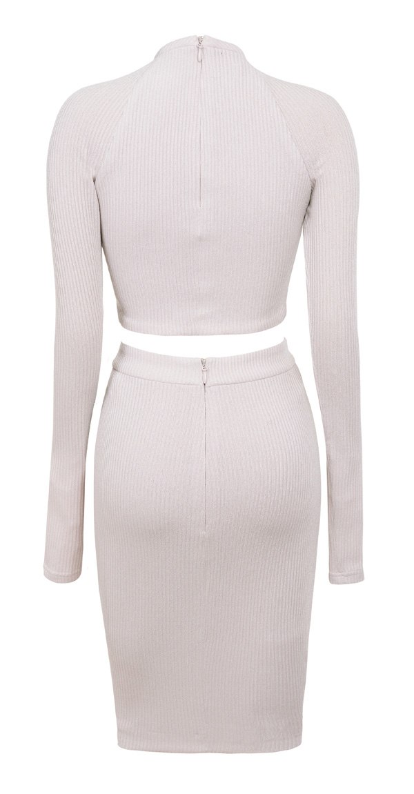 Clothing : 2 Pieces : 'Arabella' Grey Stretch Rib Knit Two Piece
