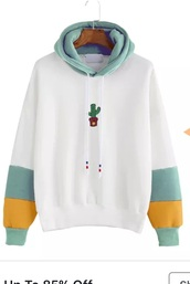 sweater,romwe,cactus,embroidered,hoodie,casual,pullover,winter sweater