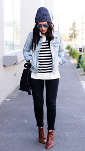 the fancy pants report,blogger,striped sweater,denim jacket,aviator sunglasses,brown boots,black bag