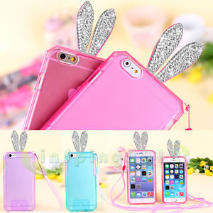 Loverly rabbit ears diamond neck rope lanyard silicone gel rubber case for phone