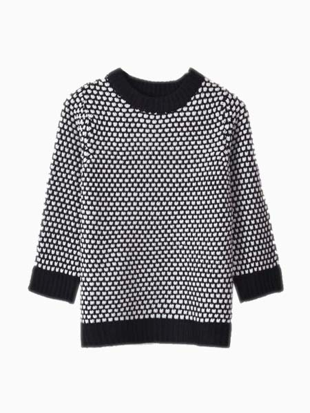Crew Neck Knit Top In Houndstooth | Choies