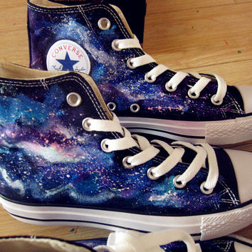 Harajuku gradient color shoes zipper shoes powder fluorescent blue gradient galaxy high converse hand-painted canvas shoes for women's shoes on Wanelo