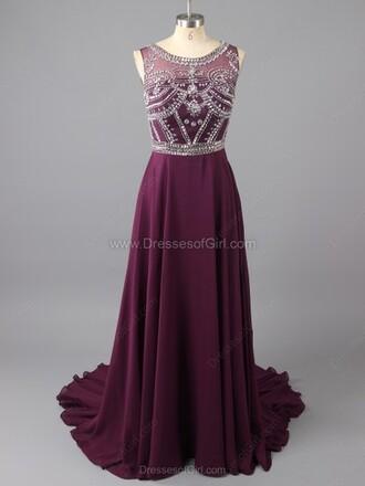 dress a-line scoop neck chiffon tulle skirt floor-length beading prom dress