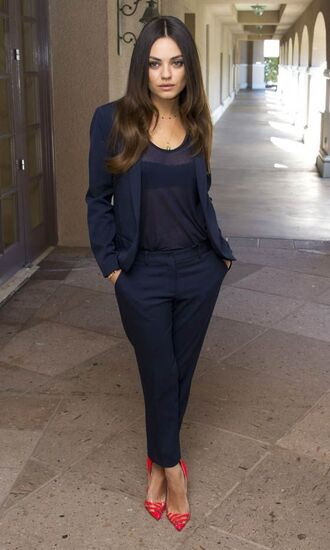 pants top jacket blazer navy pumps mila kunis shoes red pumps blue blazer blue pants sheer top pointed toe pumps petite girls