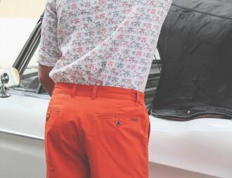 shirt palmiers logo orange gris homme baptiste giabiconi