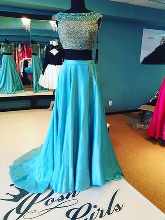 dress two-piece formal turquoise blue fashion style trendy gown dressofgirl