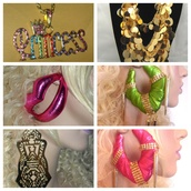 jewels,large earrings,iced out necklace,gold earrings,bling,lip earrings,sexy,basketball wives,poparazzi earrings,statement necklace