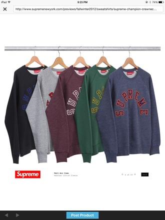 sweater grey supreme red crewneck sweatshirt
