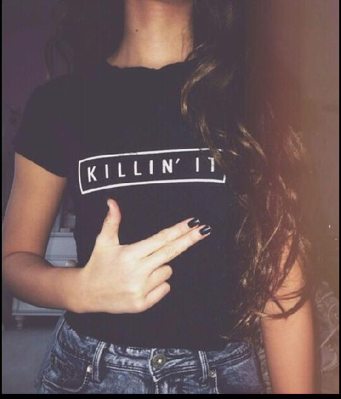 shirt white black gun cute t-shirt top blouse writting sayings rap music summer 2014 style spring killin' it girly fun pistol