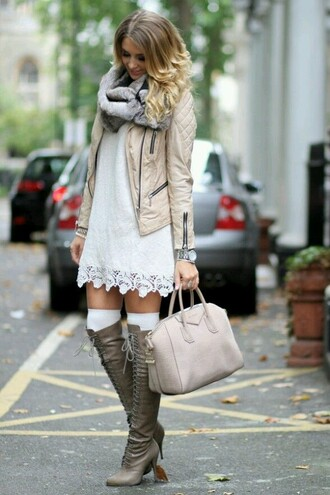 grey boots high heels boots dress coat shoes bag nude tote bag jacket boots cream jacke white dress pretty short dress knitted scarf warm
