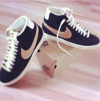 sneakers nike black glitters cute fashion girl girly street bag hair accessory socks gold nike sneakers nike shoes high top sneakers sparkle white swag rhinestones nike blazer glitter shoes strass glitzer schwarz glamour blue nikes tumblr streetstyle style streetwear trainers