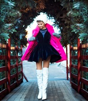 gvozdishe,blogger,coat,dress,shoes,jewels,winter outfits,fur hat,fur coat,faux fur jacket,pink fur coat,boots,white boots