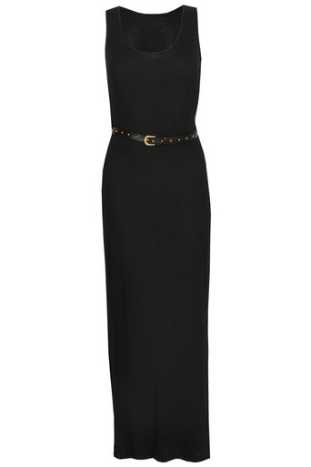 Ladies Naveen Black maxi dress with belt | Pop Couture