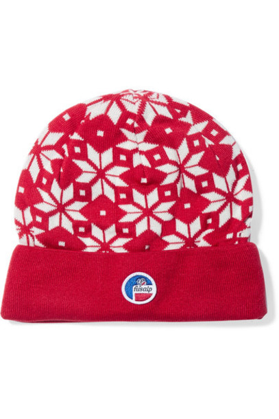 snowflake beanie knitted beanie red hat