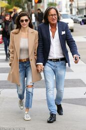 jeans,mohamed hadid,mens blue blazer,shiva safai,blue jeans,ripped jeans,sneakers,white sneakers,top,grey top,coat,camel coat,hermes,belt,mens shirt,mens jeans,menswear,mens jacket,mens shoes,sunglasses,celebrity,celebrity style