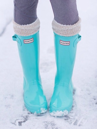 shoes turquoise mint hunter boots rubberboots rainydays cute