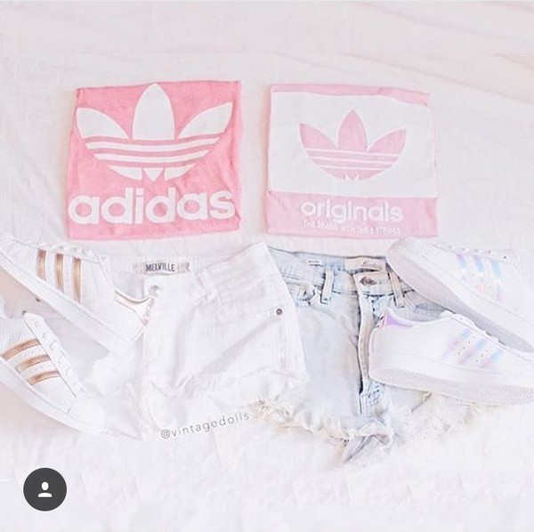 t-shirt adidas pink shorts summer superstar