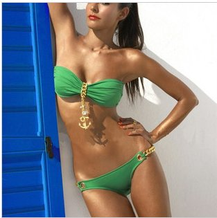 Deja Boutique. Penny green chain bikini
