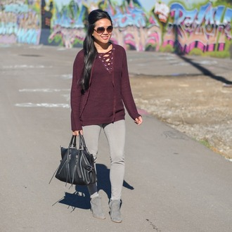 morepiecesofme blogger sunglasses bag sweater shoes fall outfits ankle boots handbag grey jeans