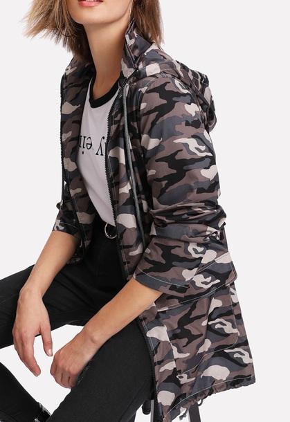 jacket girly camouflage camo jacket zip zip-up hoodie