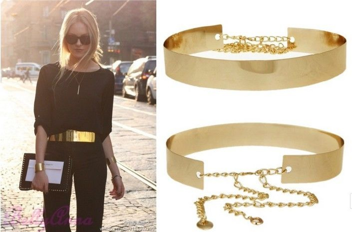 Women Full Metal Mirror Waist Belt Metallic Gold Plate Wide Obi Band With Chains | eBay