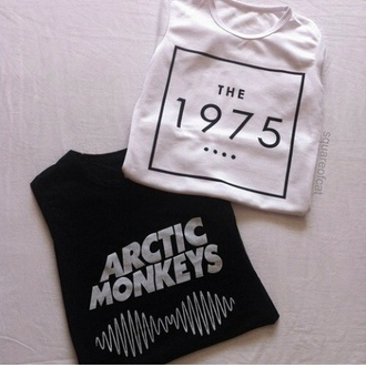 music band black white arctic monkeys the 1975 band t-shirt black and white