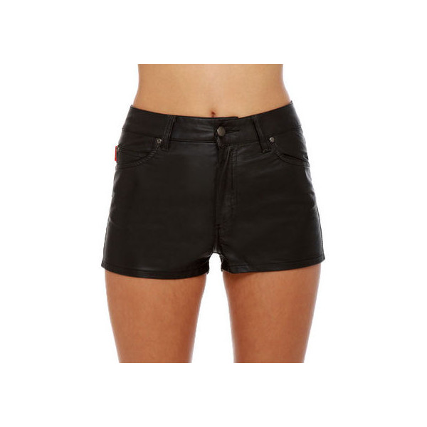 NYC Shorts - Vegan Leather Shorts - High-Waisted Short... - Polyvore