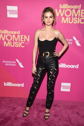 top bustier black pants sandals bodysuit selena gomez belt all black everything