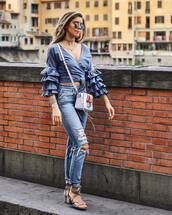 top,ruffled top,tumblr,blue top,wrap top,ruffle,denim,jeans,blue jeans,skinny jeans,ripped jeans,bag,sandals,mid heel sandals,shoes