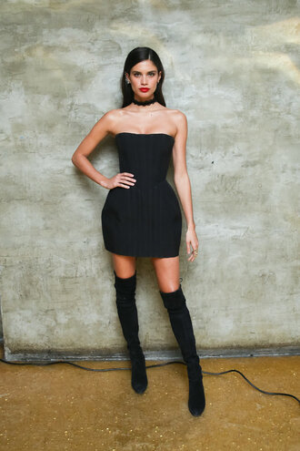 dress strapless black dress little black dress boots over the knee boots sara sampaio model met gala choker necklace strapless dress
