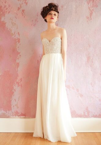 dress prom dress wedding dress bridal dress hipster wedding white dress maxi dress bridal gown pearl rhinestones bustier rhinestones dress