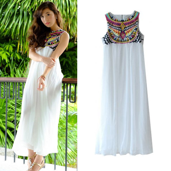 1ee52902587 2013 Hot Summer Retro White Sleeveless Embroidery Pleated Chiffon Long Maix  Dress For Women