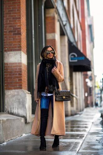 maria vizuete mia mia mine blogger coat sweater t-shirt jeans scarf shoes top sunglasses jewels bag