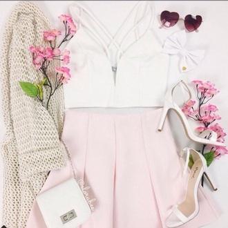 skirt pleaded skirt soft pink skirt pink skirt skater skirt top white top string top