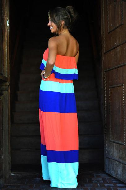 dress: bright, maxi dress, bandeau, orange dress, mint dress
