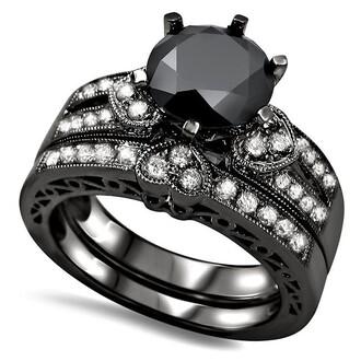 jewels round black diamond ring set black and white diamond ring set six-prong set round cut black diamond heart design engagement ring bridal set engagement ring and wedding band evolees.com