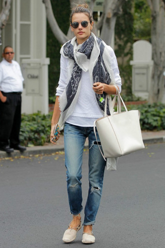 shoes flats alessandra ambrosio jeans sweater