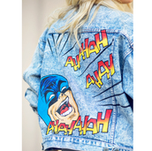 jacket,tumblr,cartoon,batman,customized,denim jacket,blue jacket,embellished denim,superheroes