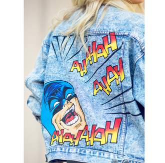 jacket tumblr cartoon batman customized denim jacket blue jacket embellished denim superheroes
