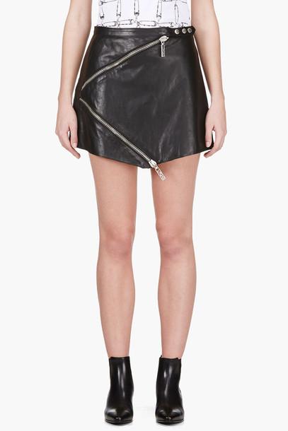 skirt black leather zip wheretoget