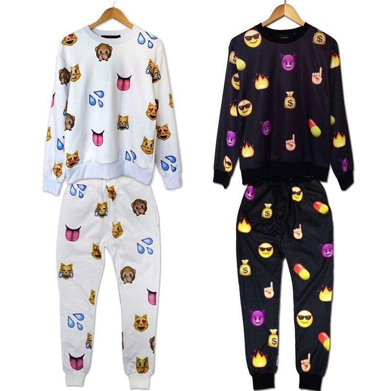 Buy men's women's 3d emoji funny print jogger pants sweatpants & top sweater suit s m l xl, $39.79