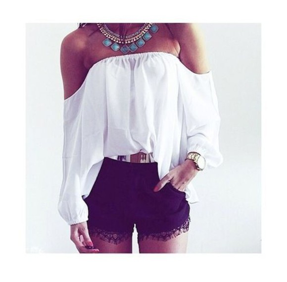 strapless white shirt off the shoulder shirt long sleeve shirt loose shirt strapless shirt