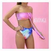 swimwear,bikini,one piece swimsuit,rainbow,tie dye,pink,summer,blue,green